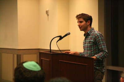 Past minyan chair and University of Pennsylvania student Elie Peltz at the Rabbi Sperber event | Photo: Serena Covkin