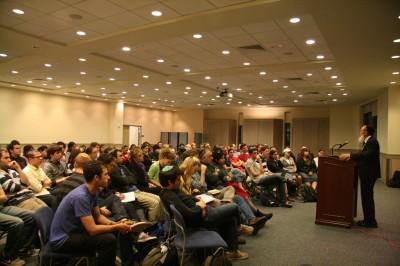 Rabbi Sperber addresses a crowd that includes the Shira Chadasha minyan at the University of Pennsylvania   Photo: Serena Covkin