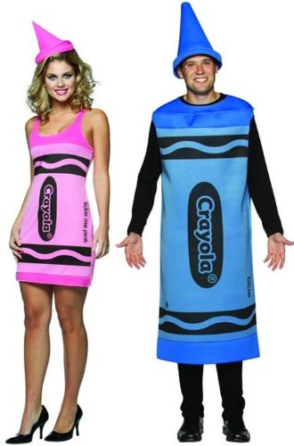 While the man is a crayon, dressed warmly as one might want in October or March, the woman is, of course, a slutty crayon. Which is apparently a thing.