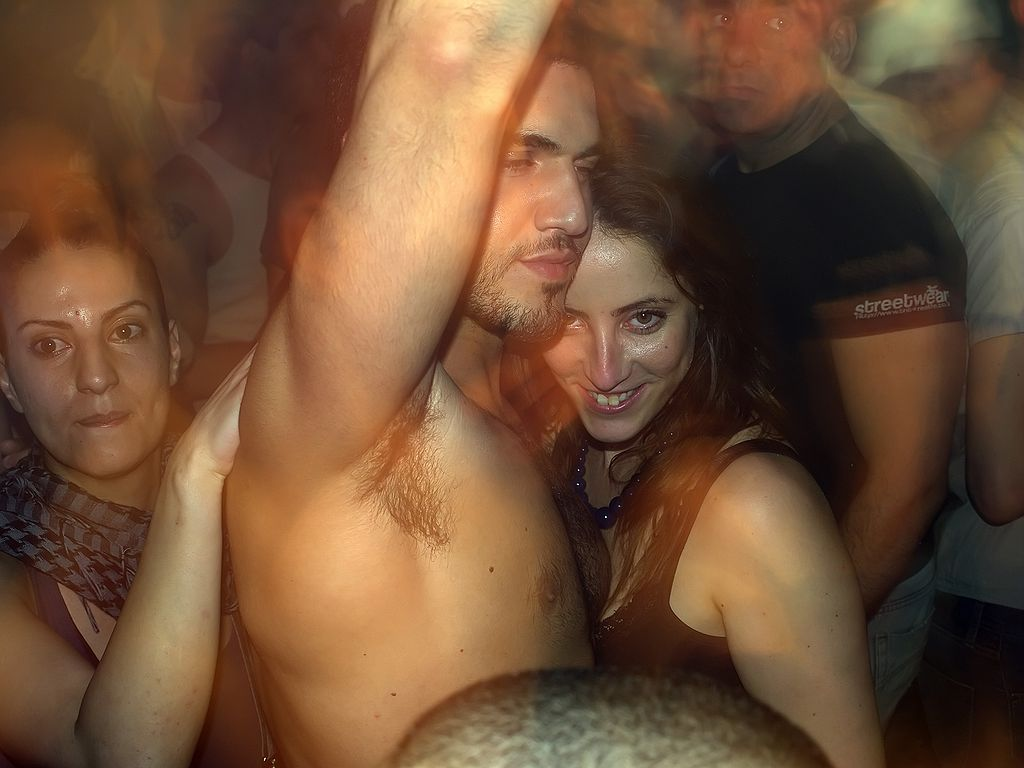 Scene from a real TLV club. Clearly, she's into this guy's level of kashrut.