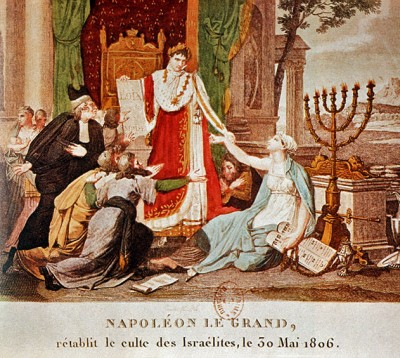 A woodcutting of Napoleon's emancipation of the Jews from 1806.   CC via Wikimedia Commons