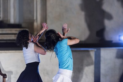 Schiff (white) and Chun (blue) performing in 'Dry Bones: Resurrection of the Living.' Photo Credit: Jun Chang.