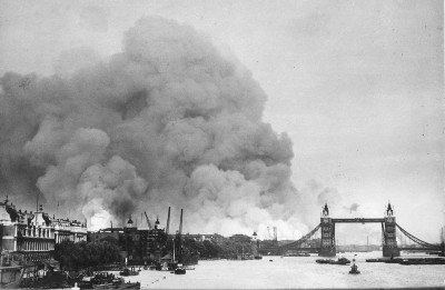 Smoke rising from fires in Surrey docks, London, following German bombing on  September 7, 1940 | CC via Wikimedia Commons