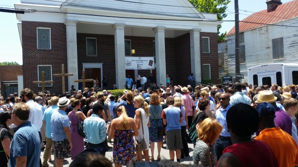 A memorial service on June 18 for the victims of the Charleston shooting. | Supplied by Nomader [CC BY-SA 3.0 (http://creativecommons.org/licenses/by-sa/3.0)], via Wikimedia Commons