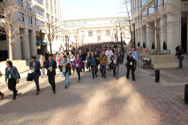 The J Street U march to Hillel's headquarters. | Photo by David A.M. Wilensky