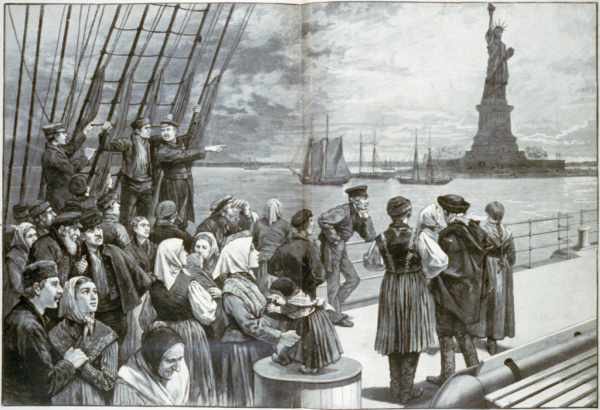 Immigrants arrive in New York City in an 1887 illustration. New York City today is home to the largest Diaspora community in the world. | Public domain, via Wikimedia