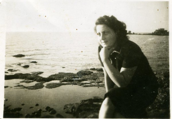 "Hannah Szenes at Kibbutz Sdot Yam in Caesarea, which inspired her famous poem ""Eli, Eli."" 