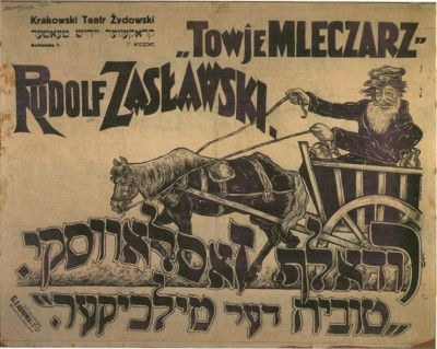 "A poster advertising Sholem Aleichem's play ""Tevye the Dairyman."" 