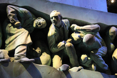 "The ""Magic is Might"" statue in the Ministry of Magic's atrium after Voldemort's ascent to power in ""Harry Potter and the Deathly Hallows: Part 1."" 